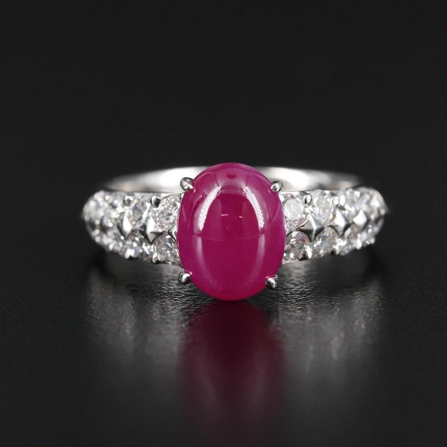 Platinum 3.52 CT Ruby and Diamond Ring