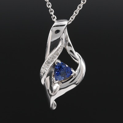 14K White Gold Synthetic Sapphire and Diamond Pendant Necklace