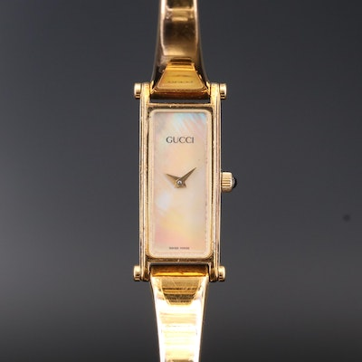 Gucci 1500 Horsebit Gold Tone Quartz Wristwatch with Mother of Pearl Dial