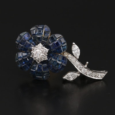 18K Diamond and Sapphire Floral Brooch