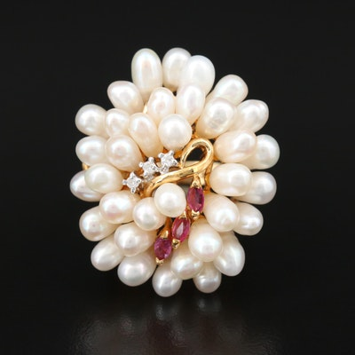 14K Yellow Gold Ruby, Diamond and Pearl Egg Cluster Ring