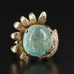 14K Yellow Gold 14.57 CT Emerald and Diamond Ring
