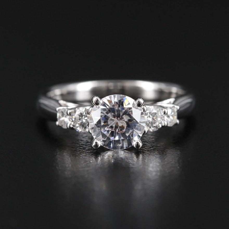 Scott Kay 14K Gold Diamond Semi-Mount Ring with Cubic Zirconia Center