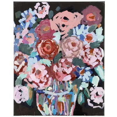 "Kait Roberts Floral Still Life Acrylic Painting ""Midnight Blooms"""