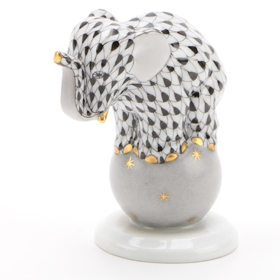"Herend Black Fishnet with Gold ""Elephant on Ball"" Porcelain Figurine, March 2000"