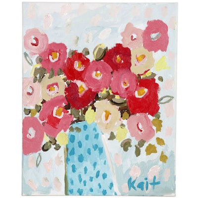 "Kait Roberts Floral Acrylic Painting ""How Did I Get So Lucky?"""