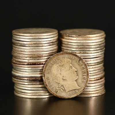 Roll of Fifty Barber Silver Dimes