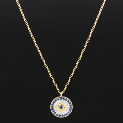 Meira 14K Yellow and Blue Sapphire with Diamond Pendant Necklace