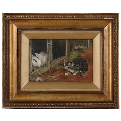 Oil Painting of Cat and Rabbit, Early 20th Century