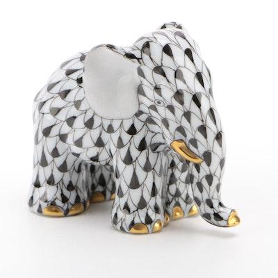 "Herend Black Fishnet with Gold ""Miniature Elephant"" Porcelain Figurine"