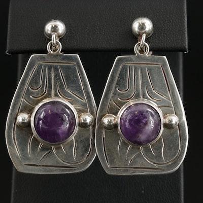 Mexican Sterling Silver Amethyst Dangle Earrings