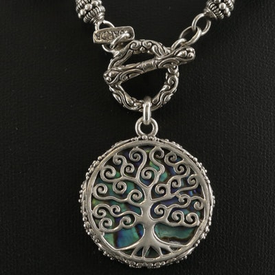 Sarda Sterling Silver Abalone Tree of Life Toggle Necklace