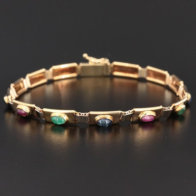 14K Gold Bracelet with Sapphire, Ruby and Emerald