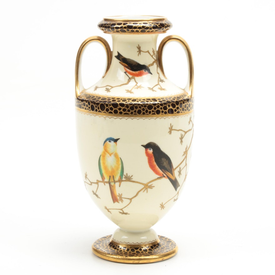 Wedgwood Hand-Painted Porcelain Urn, Late 19th Century