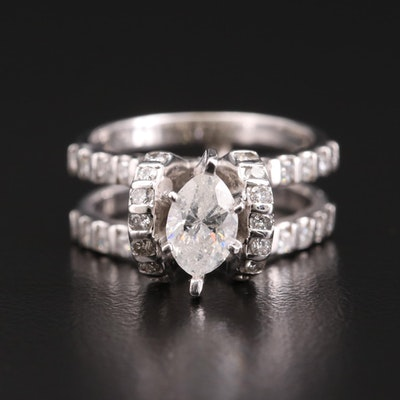 14K White Gold 1.17 CTW Diamond Ring
