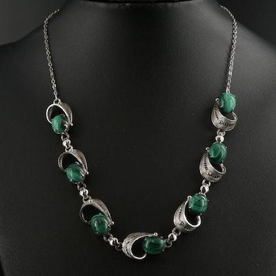 Vintage Alice Caviness Sterling Silver Malachite Necklace