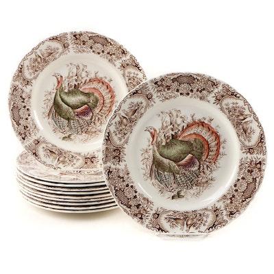 "Johnson Bros Brown ""Wild Turkeys (Native American)"" Dinner Plates, 1951–1974"