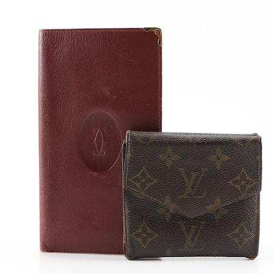 Louis Vuitton Monogram Compact Wallet and Cartier Leather Vertical Wallet