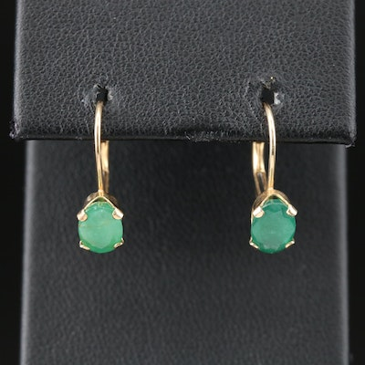 14K Yellow Gold Emerald Drop Earrings