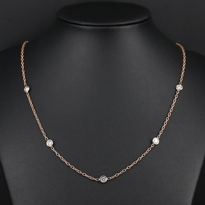 14K Rose and White Gold Diamond Station Necklace
