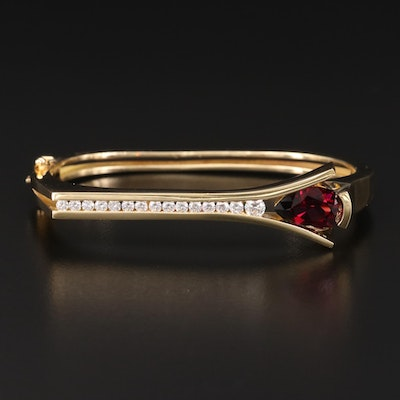 John Atencio 18K Garnet and Diamond Hinged Bangle