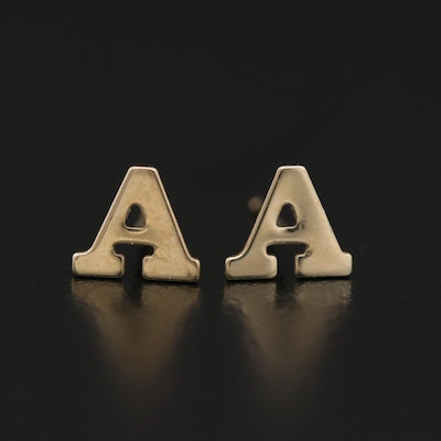 14K Yellow Gold Monogram 'A' Stud Earrings