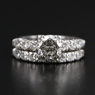 Platinum 1.69 CTW Diamond Ring and Band Set