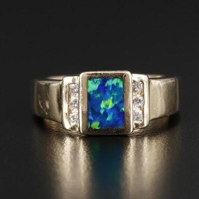 14K Yellow Gold Synthetic Opal Doublet and Cubic Zirconia Ring