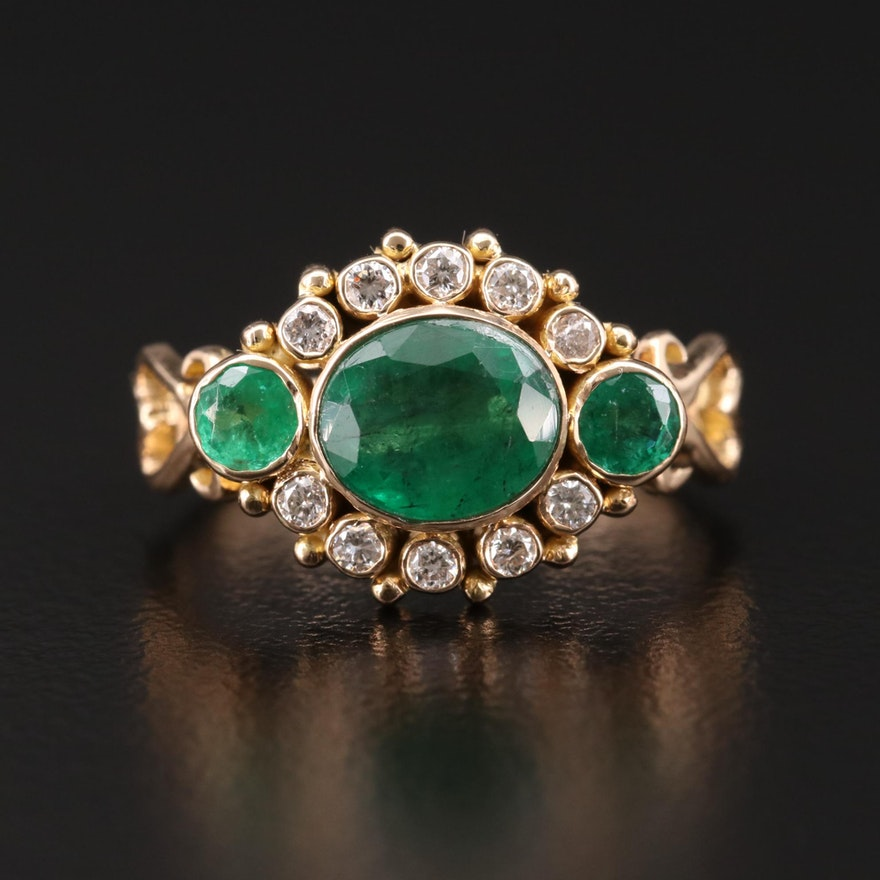 18K Gold Bezel Set Diamond and Emerald Ring with Openwork Shoulders