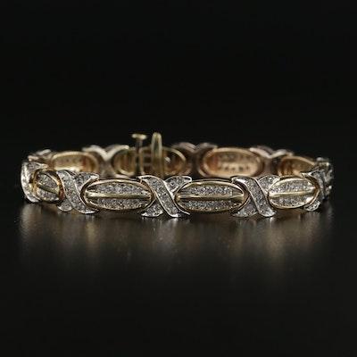 14K Yellow and White Gold 3.12 CTW Diamond Bracelet