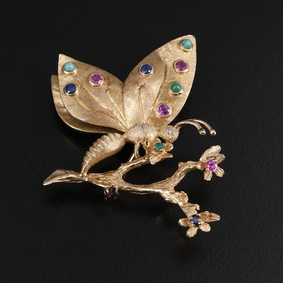 14K Yellow Gold Diamond and Gemstone Butterfly and Floral Motif Brooch