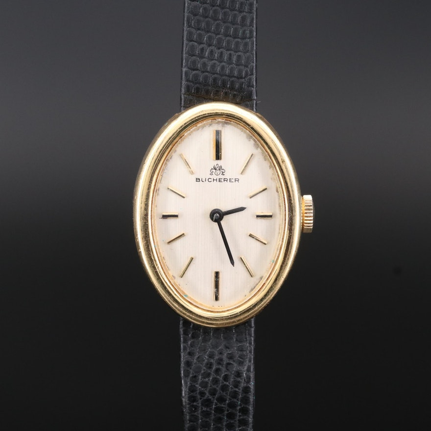 Vintage Bucherer 18K Gold Stem Wind Wristwatch
