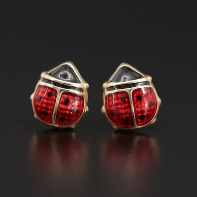 14K Yellow Gold and Enamel Lady Bug Stud Earrings