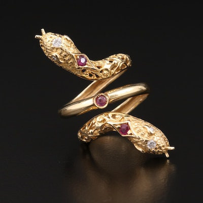 18K Yellow Gold Diamond and Ruby Double Headed Snake Ring