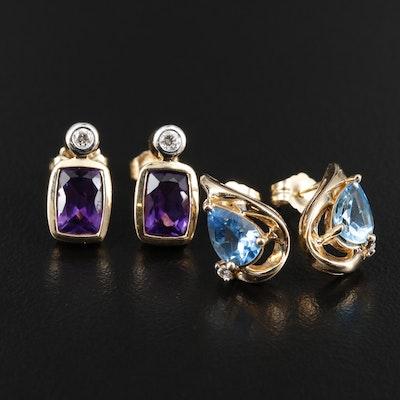 14K Gold Amethyst, Diamond and Topaz Earrings