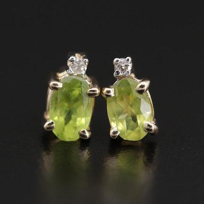 14K Gold Peridot and Diamond Stud Earrings