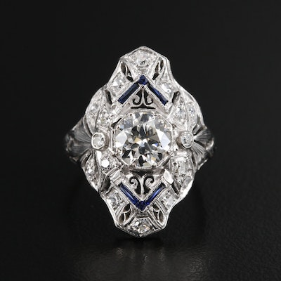 Belle Epoque Style Platinum 1.36 CTW Diamond and Synthetic Sapphire Ring