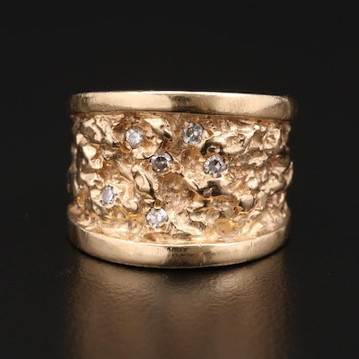 14K Yellow Gold Diamond Nugget Style Ring