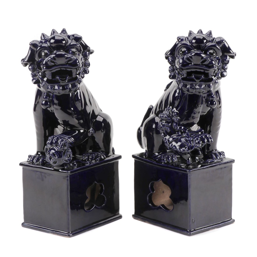 Pair of Chinese Cobalt Glaze Porcelain Guardian Lions, Ming Dynasty
