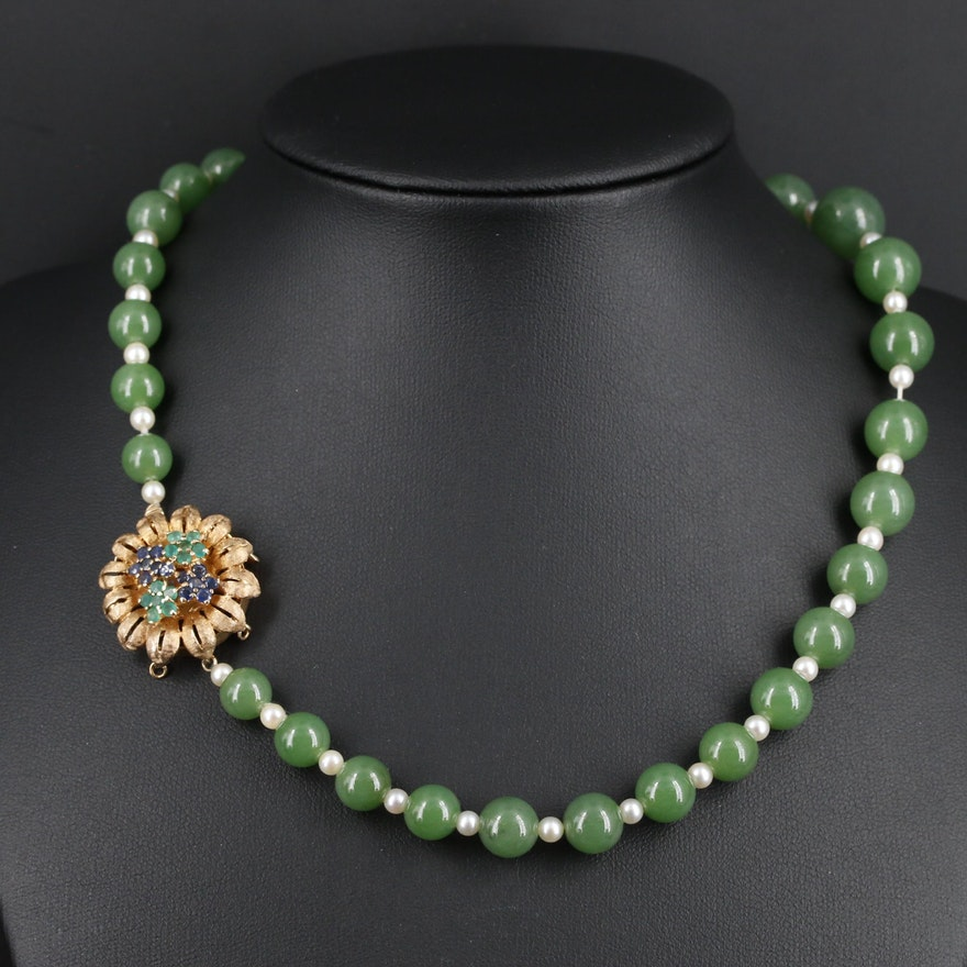 Beaded Nephrite and Pearl Necklace with 14K Sapphire and Emerald Pendant