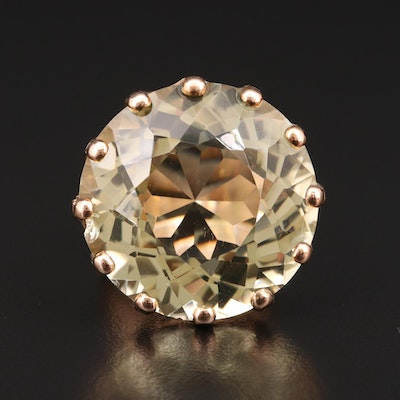 14K Yellow Gold 64.00 CT Citrine Statement Ring