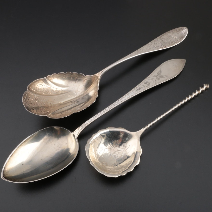 American Sterling and Coin Silver Serving Spoons with Danish 687 Silver Spoon