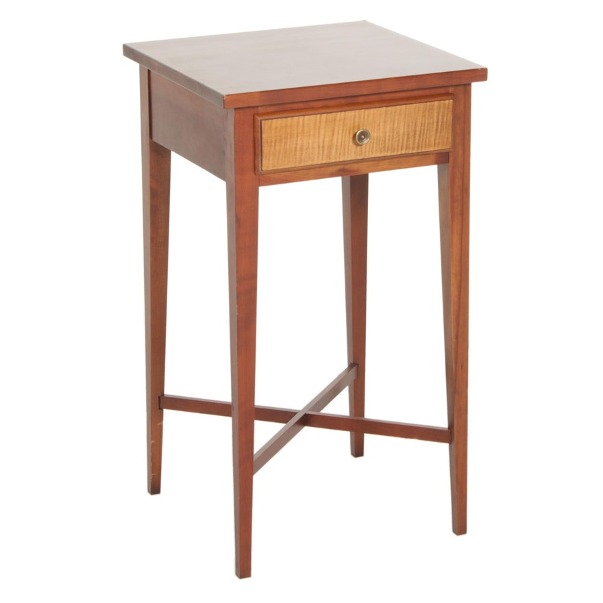 Ethan Allen Cherry One Drawer Table with Tiger Maple Veneer, Late 20th Century
