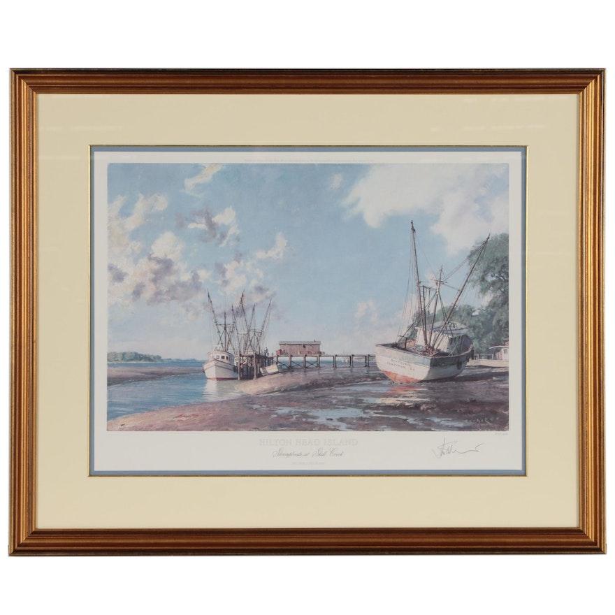 "John Stobart Offset Lithograph ""Hilton Head Island: Shrimpboats at Skull Creek"""