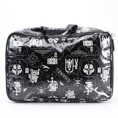 Chanel Airlines Black and White Printed Coated Canvas Travel Bag