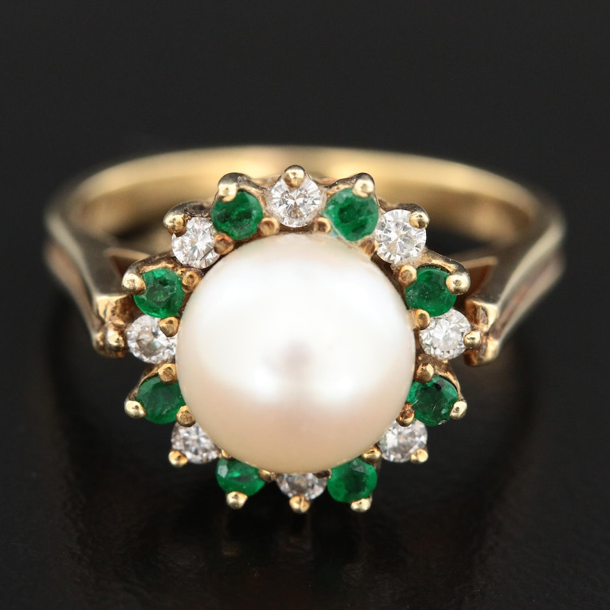 Vintage 14K Yellow Gold Ring with Pearl, Emerald and Diamond