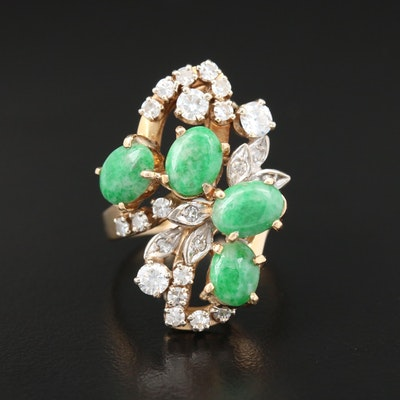 18K Yellow Gold Jadeite and Diamond Ring