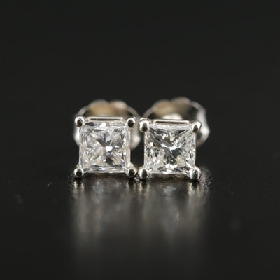 14K White Gold 1.00 CTW Diamond Stud Earrings