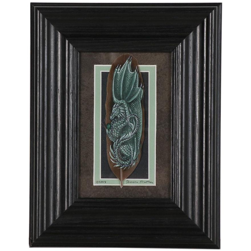 "Theresa Mather Acrylic Painting on Feather ""Malachite Dragon"""