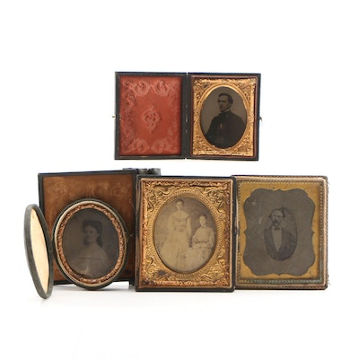 19th Century Silver Print Cased Photographs Including Ambrotype